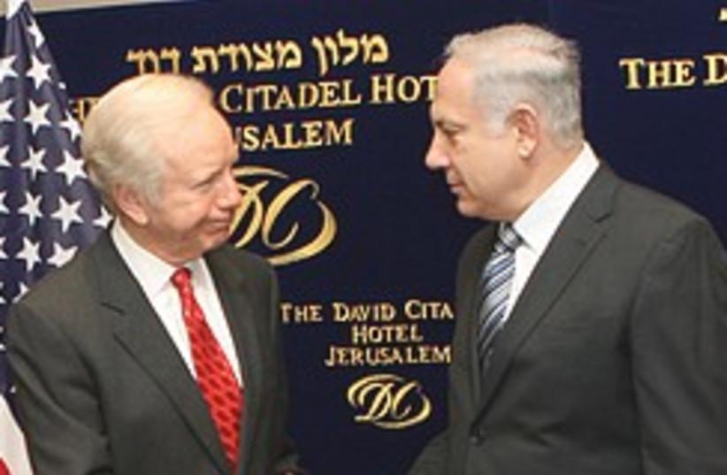 Netanyahu Joe Lieberman 248.88 (photo credit: Ariel Jerozolimski)