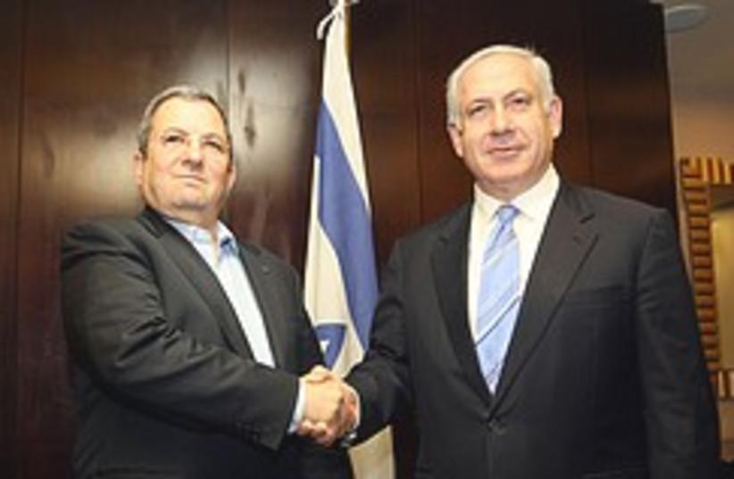 Netanyahu and Barak shake hands 248.88 (photo credit: Ariel Jerozlimski [file])