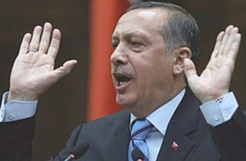 erdogan hands up 248.88 (photo credit: AP)