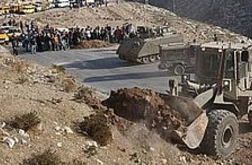 IDF bulldozer, road 298 (photo credit: AP)