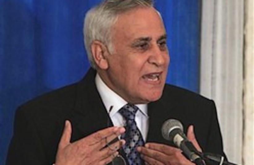 Katsav Kiryat Malahi conference 224.88 (photo credit: AP [file])