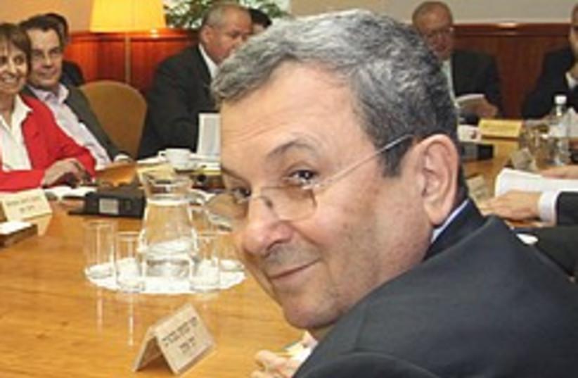Barak smiles at cabinet meeting 248.88 (photo credit: Ariel Jerozolimski)