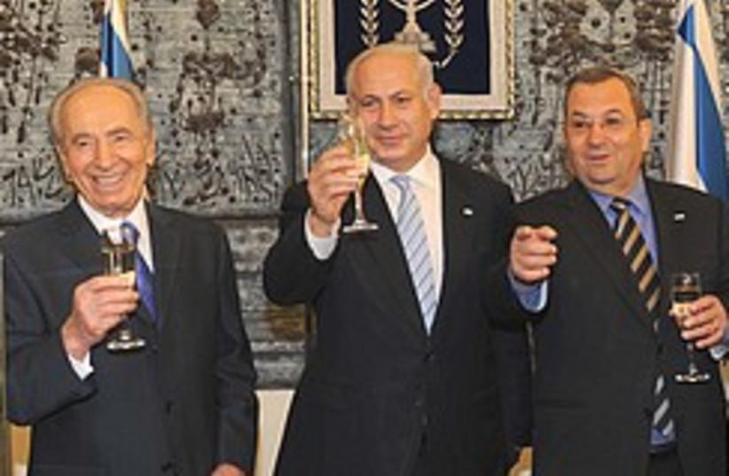 Netanyahu, Peres, Barak get drunk 248.88 (photo credit: Beit Hanassi )