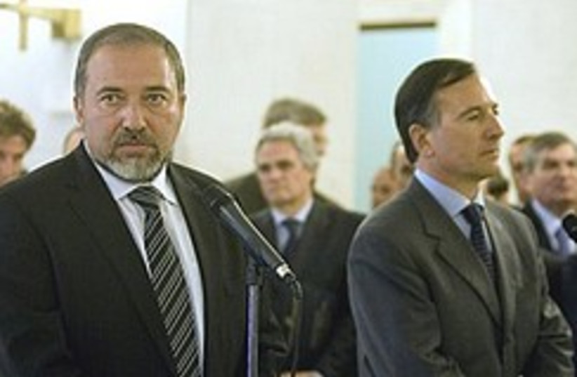 Lieberman Frattini  248.88 (photo credit: AP)