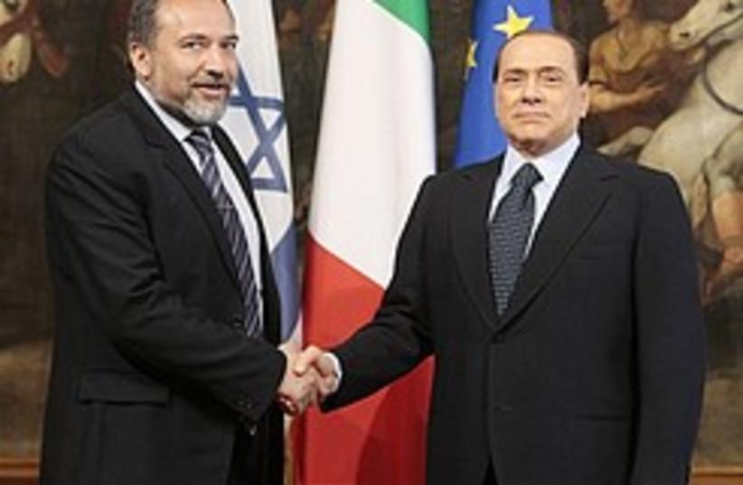lieberman and Berlusconi 248.88 (photo credit: )