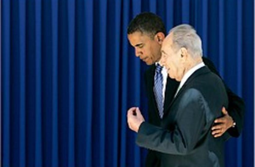 obama peres 248.88 (photo credit: AP)