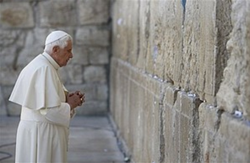pope at the wall 2 298.88 (photo credit: ap)