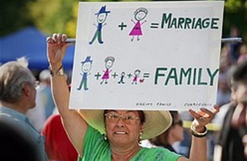 anti-gay marriage protest 248 88 ap (photo credit: AP)