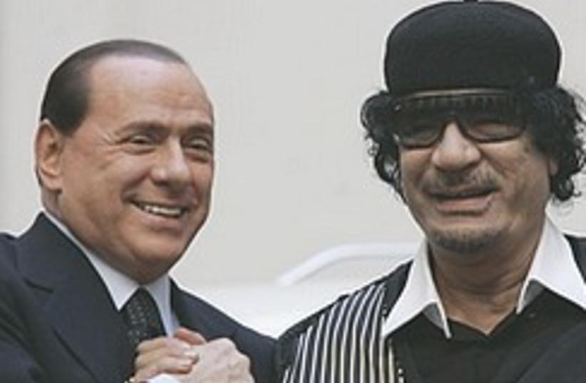 Gaddafi Berlusconi 248.88 (photo credit: AP)