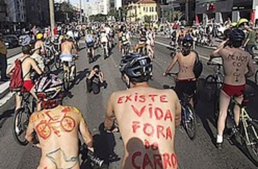 Naked Bike Ride 248.88 ap (photo credit: AP [file])