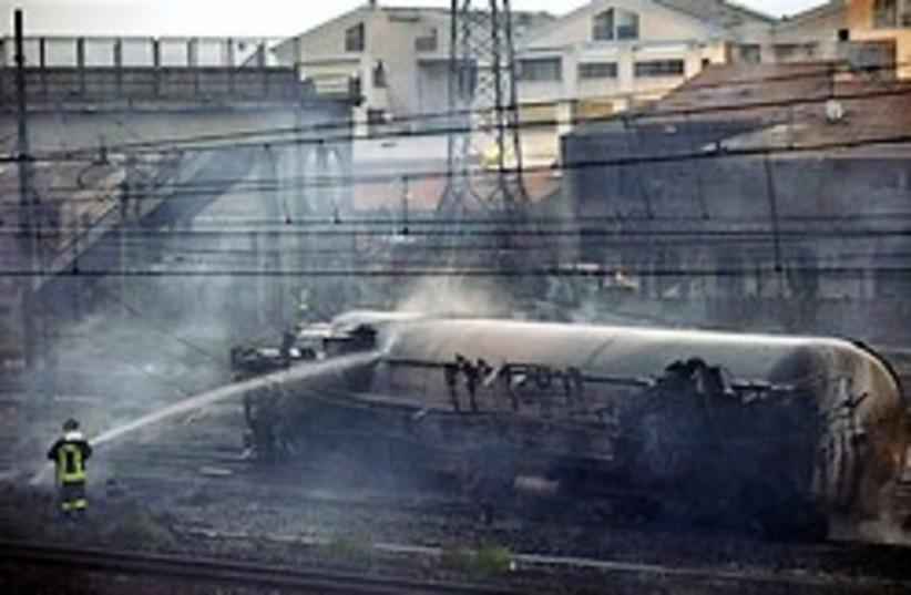 train fire 248.88 ap (photo credit: AP)