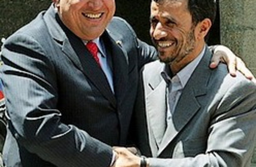 Ahmadinejad Chavez 248.88 (photo credit: AP)