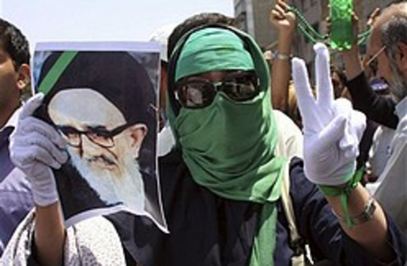 iran protest green woman 248 88 (photo credit: AP)