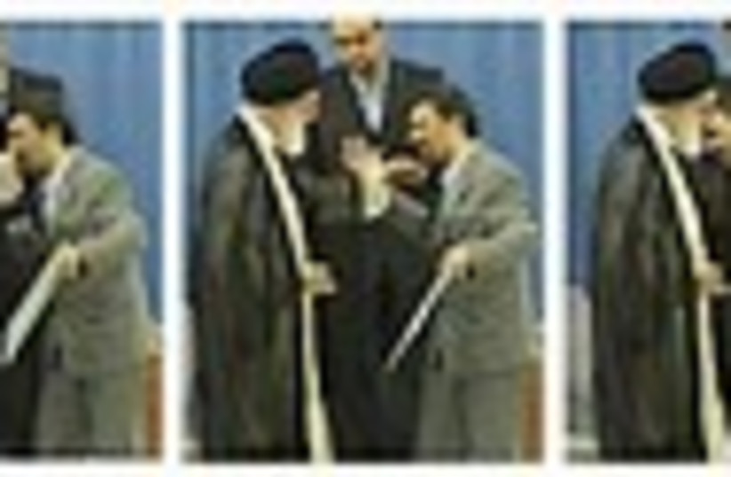 ahmadinejad khamenei kiss 248.88 (photo credit: AP)