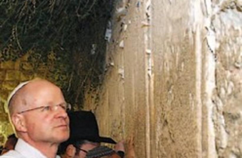 noam schalit at western wall 248.88 AJ (photo credit: Ariel Jerozolimski [file])