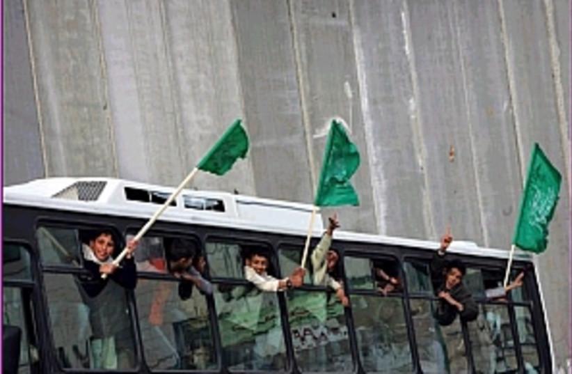 hamas flags bus 298 (photo credit: AP)