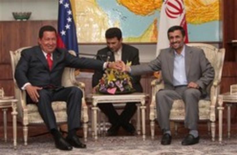 chavez ahmadinejad  lovey dovey248 88 ap (photo credit: AP)