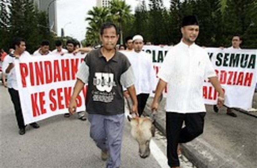 malaysia muslim protest cow 248 88 (photo credit: )