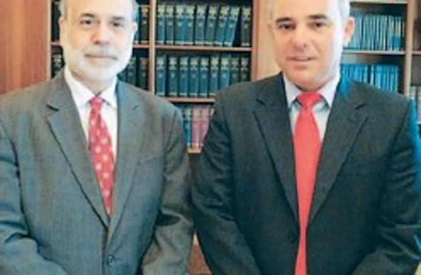 Steinitz with Bernanke 248.88 courtesy (photo credit: Finance Ministry)