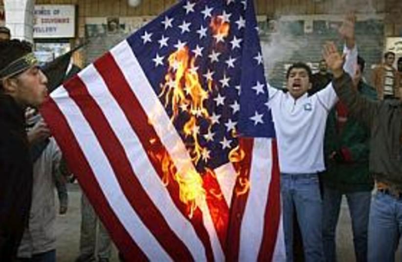 pals burn US flag in bet (photo credit: AP)