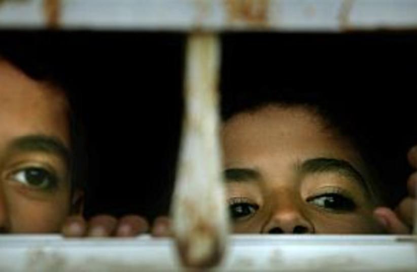 palestinian kids looking (photo credit: AP)