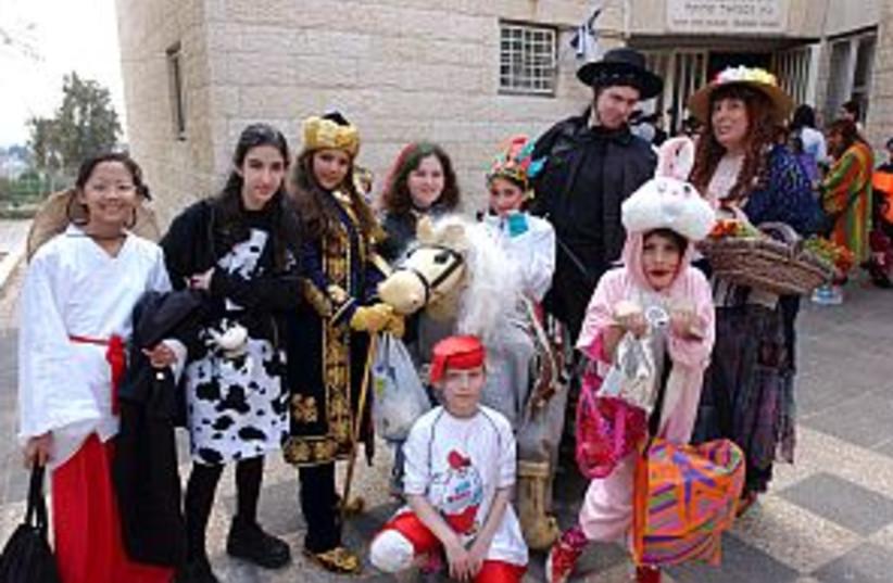 purim, kids in costime 2 (photo credit: Ariel Jerozolimski)