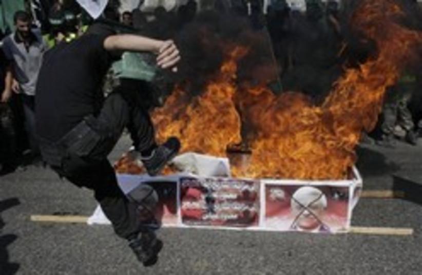 hamas gaza abbas protest (photo credit: AP)