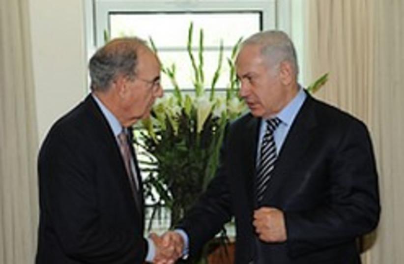 netanyahu mitchell shake hands again 248 (photo credit: Amos BenGershom / Government Press Office)