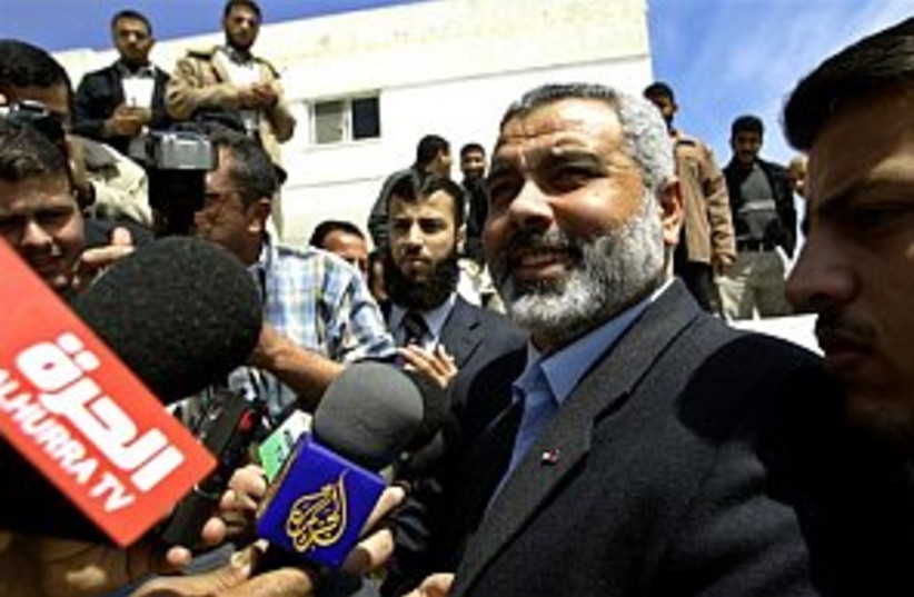haniyeh in Gaza with rep (photo credit: AP)