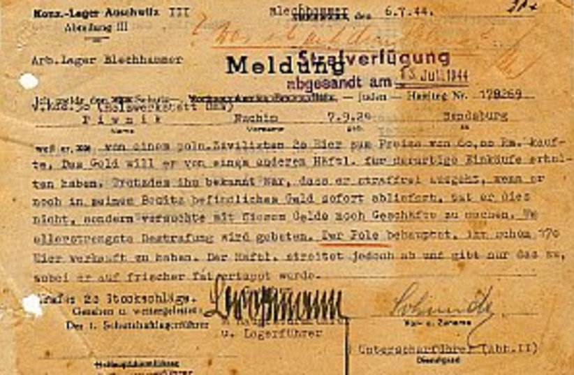 nazi document 298.88 (photo credit: Yossi Shavit)