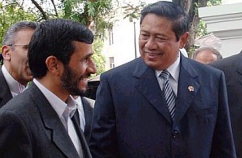 ahamdinejad in indonesia (photo credit: AP)