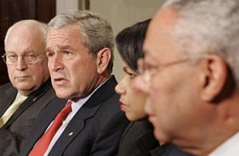 bush condoleezza powell (photo credit: AP)