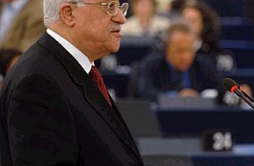 abbas at EU parl 298 ap (photo credit: AP)