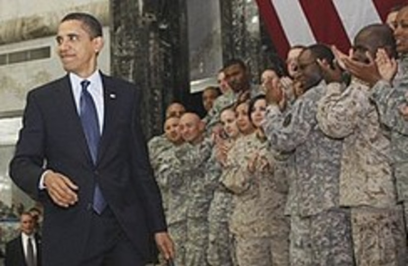Obama in iraq with troops 248.88 (photo credit: AP)