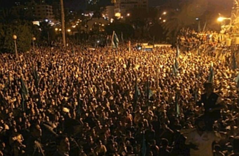 gaza rally after airstri (photo credit: AP)