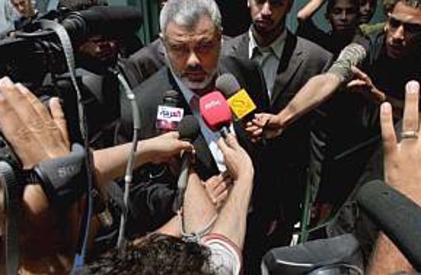 haniyeh reporters 298 (photo credit: AP)