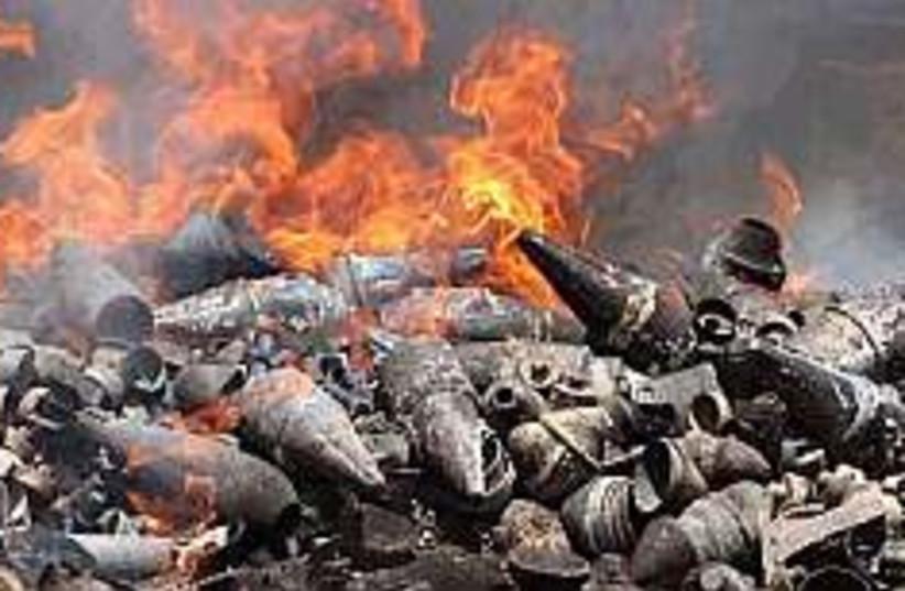 Kassams on fire 298 ap (photo credit: AP)