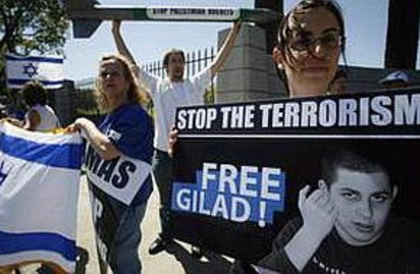 free gilad rally in LA  (photo credit: AP)