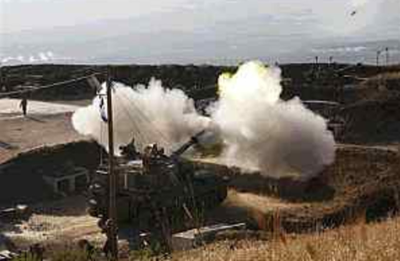 idf artillery north 298 (photo credit: AP)
