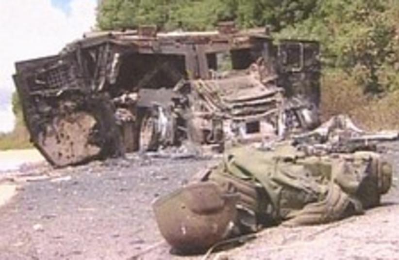 destroyed hummer 224 88 (photo credit: Channel 1)