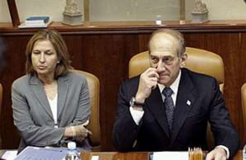 Livni Olmert 298.88 (photo credit: AP [file])