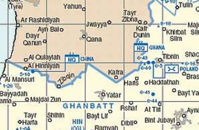 south lebanon map UNIFIL (photo credit: UNIFIL)