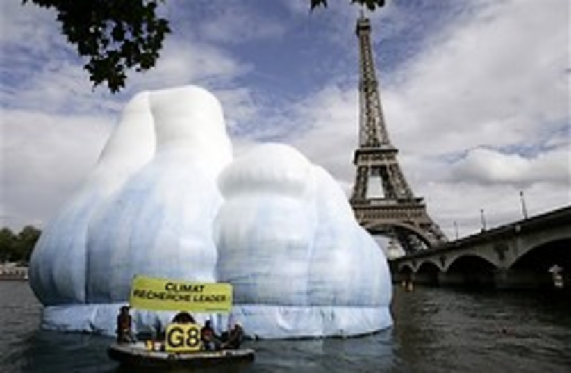 A 16-meter high inflatable iceberg, set up by Gree (photo credit: AP)