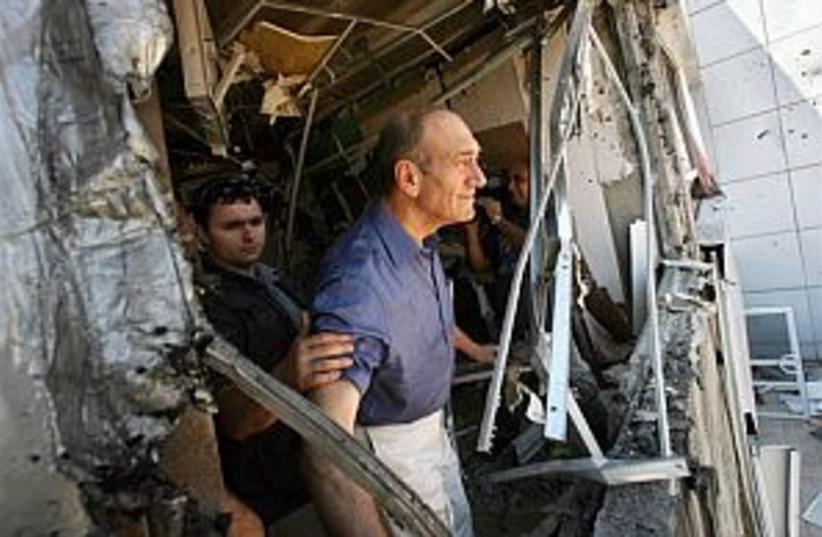 olmert rocket damage 298 (photo credit: AP [file])