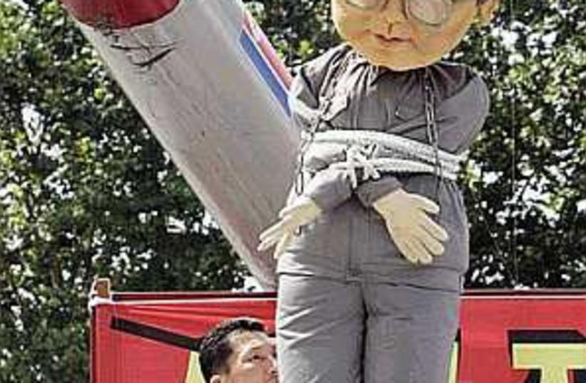 n korea balloon protest  (photo credit: AP)
