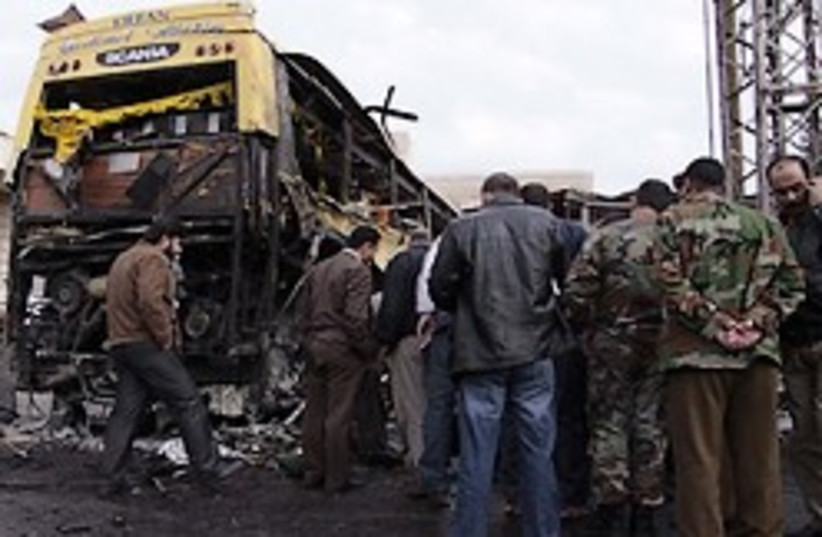 syria bus bomb (photo credit: AP)