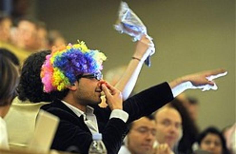 Durban II Ahmadinejad clown protest 248 (photo credit: AP)