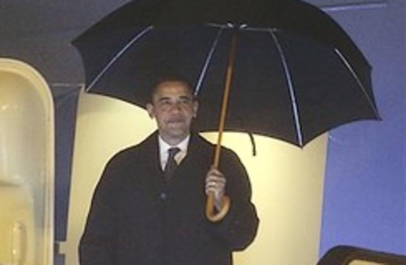 Obama China rain 248.88 (photo credit: )