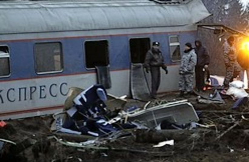 Russian train bomb (photo credit: AP)