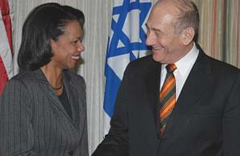 olmert rice in dc 298.88 (photo credit: GPO)